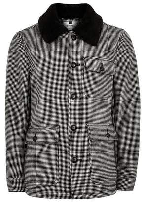 Topman Mens Black Houndstooth Borg Lined Jacket