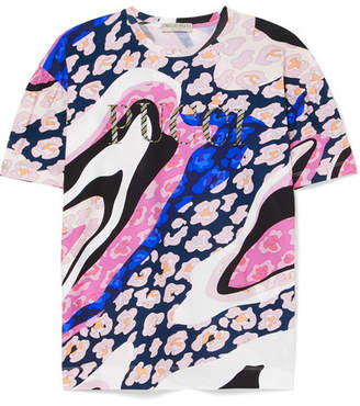 Emilio Pucci Glittered Printed Cotton-jersey T-shirt - Pink