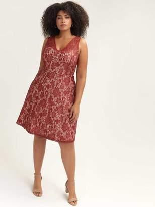 Sleeveless Fit & Flare Lace Dress
