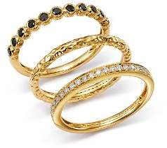Bloomingdale's White & Black Diamond Rings, Set of 3 in 14K Yellow Gold - 100% Exclusive