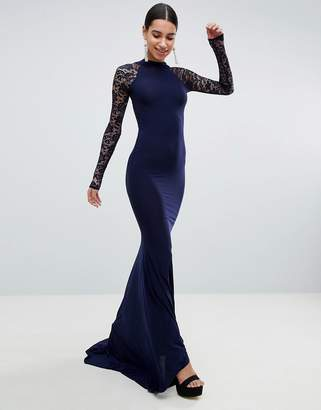 Club L Open Back Slinky Fishtail Maxi Dress With Detailed Lace Open Back