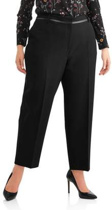 Lifestyle Attitudes Women's Plus Tapered Ankle Pant with Pleather Trim