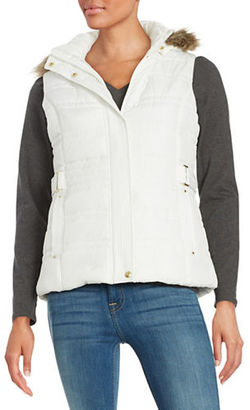 Weatherproof Faux Fur Trim Puffer Hooded Vest $120 thestylecure.com