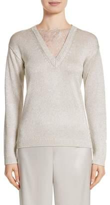 St. John Metallic Jersey Knit Sweater