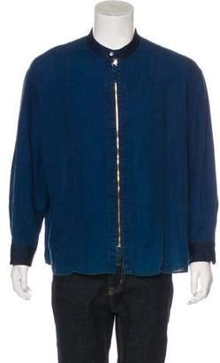 Armani Collezioni Denim-Trimmed Linen Shirt Jacket
