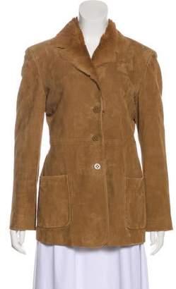 Armani Collezioni Chevron Pattern Button-Up Jacket