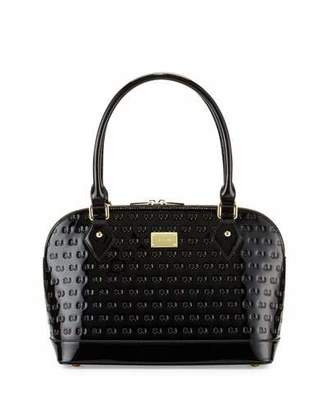 St. John Collection Logo-Embossed Patent Small Dome Satchel Bag, Black $825 thestylecure.com
