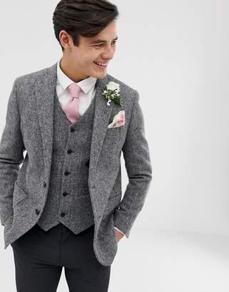6f2e161617e Asos Design DESIGN wedding slim blazer in 100% wool Harris Tweed in grey
