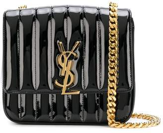 Saint Laurent Black Patent Vicky Crossbody Bag