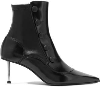 Alexander McQueen Embellished Glossed-leather Ankle Boots - Black
