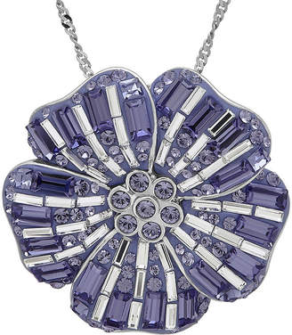FINE JEWELRY Sterling Silver Purple and White Crystal Flower Pendant Necklace