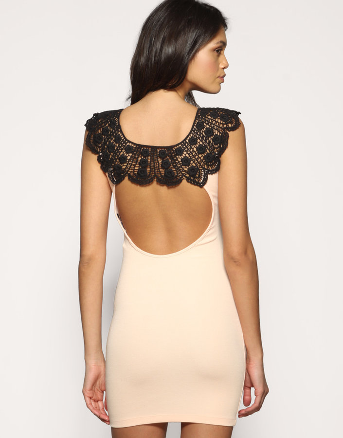 ASOS Lace Neck Open Back Body-Conscious Dress