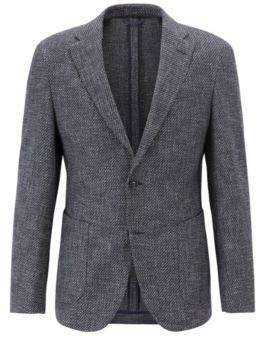 BOSS Hugo Tailored slim-fit blazer semi-canvas construction 44R Dark Blue