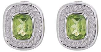 Stylish And Colorful 14k White Gold Peridot Earrings