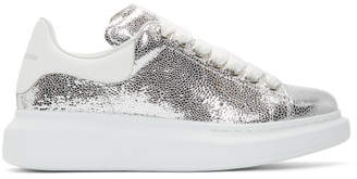 Alexander McQueen Silver and White Oversized Sneakers