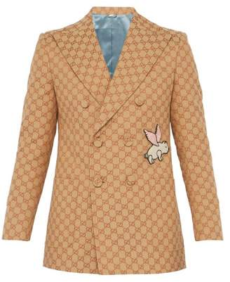 Gucci Gg Piglet Double Breasted Cotton Blend Blazer - Mens - Orange