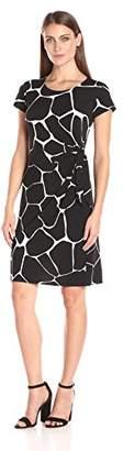 MSK Women's Short Sleeve Knot Side Dress, Black/White, L