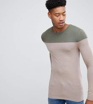 BEIGE Asos Design ASOS DESIGN Tall muscle fit long sleeve t-shirt with contrast yoke in