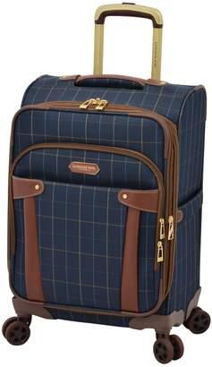 London Fog Newbury Windowpane 20-Inch Expandable Spinner Suitcase