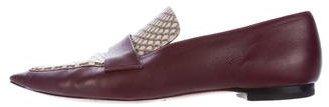 Céline Snakeskin-Trimmed Leather Loafers