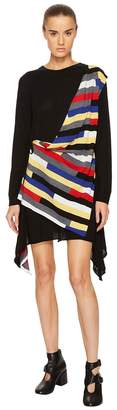 Sonia Rykiel Runway Broken Stripe Intarsia Drape Front Long Sleeve Dress Women's Dress