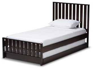 Baxton Studio Harlan Modern Classic Mission Style Brown-Finished Wood Twin Platform Bed with Trundle