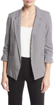 Anna Cai 3/4-Ruched-Sleeves Houndstooth Blazer