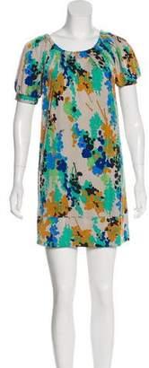 Tibi Silk Print Mini Dress