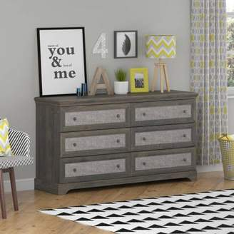Ameriwood Home Stone River 6 Drawer Dresser with Fabric Inserts, Rustic Oak