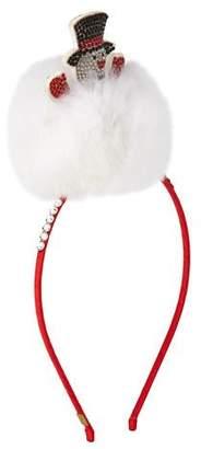 Bari Lynn Girls' Crystal Snowman Headband w/ Fur Trim