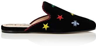 Gucci Women's Kibi Star- & Bee-Embroidered Velvet Mules