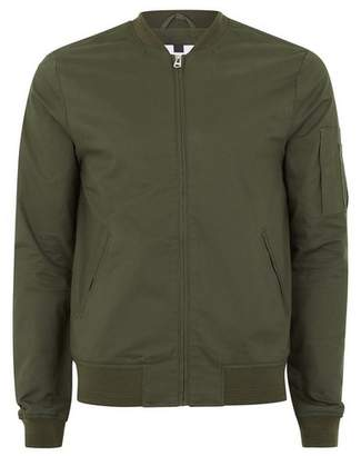 Topman Mens Khaki Stretch Bomber Jacket