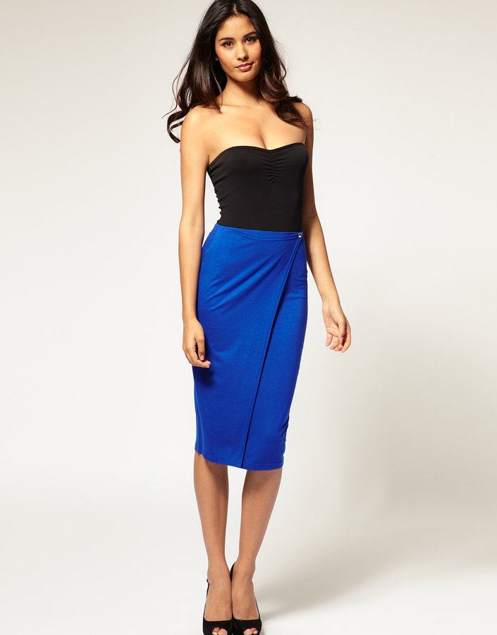 ASOS Button Wrap Pencil Skirt