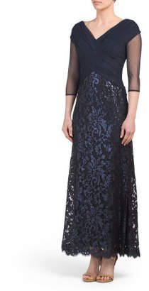 Petite V-neck Gown With Lace Skirt