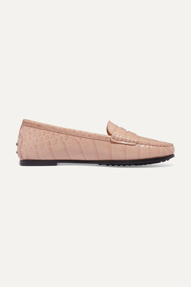 Tod's City Gommino Croc-effect Leather Loafers - Beige