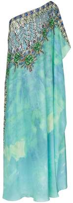Kimberly Mcdonald one-shoulder jewel print silk kaftan gown