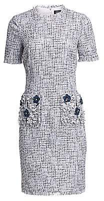Teri Jon by Rickie Freeman Women's Tweed Beaded Appliqué Sheath Dress