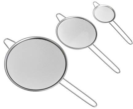 Fine Mesh Strainer Set- Stainless Steel Small, Medium, and Large Colanders for Sifting or Straining Vegetables, Fruit, and Noodles by Classic Cuisine