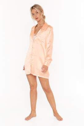 Nasty Gal Womens Let'S Sleek In Satin Pyjama Shirt - Orange - 6