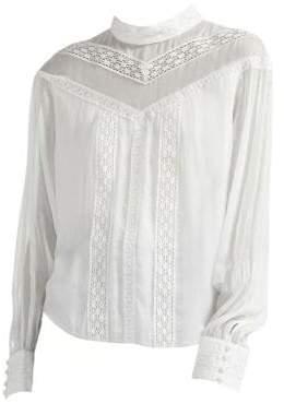 Maje Women's Mockneck Lace Blouse - White - Size 1 (Small)