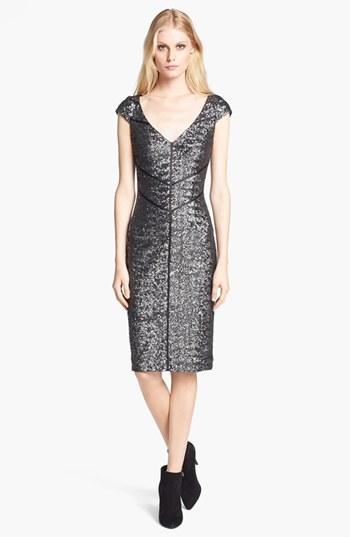 Jay Godfrey V-Neck Sequin Sheath Dress