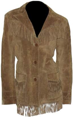 Sleekhides Women's Cowgirl Fringed High Quality Suede Leather Coat Brown