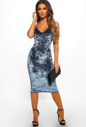 Pink Boutique Slay Bells Grey Velvet Bodycon Midi Dress
