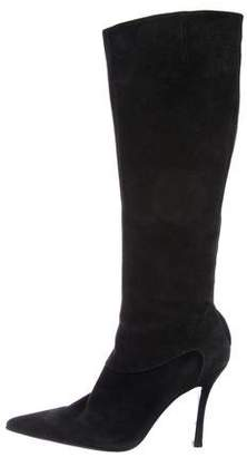 Sergio Rossi Suede Pointed-Toe Knee-High Boots