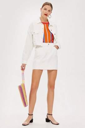 Topshop MOTO White Denim Mini Skirt