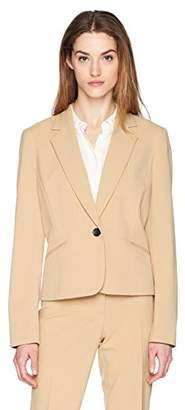 Nine West Women's Bi Stretch 1 Button Notch Lapel Jacket with Pockets