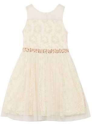 Amy Byer Lace and Glitter Mesh Holiday Dress (Big Girls)