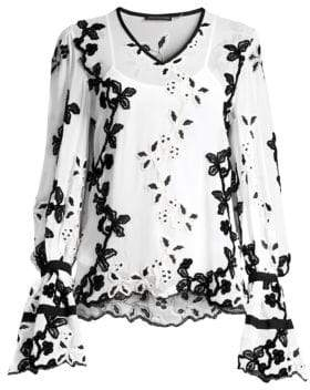 Josie Natori Embroidered Long Sleeve Top