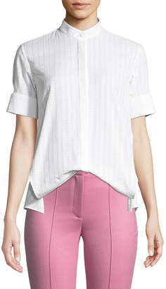 ADAM by Adam Lippes Short-Sleeve Swiss Voile Trapeze Shirt