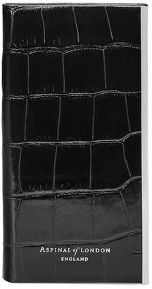 Aspinal of London Iphone 7/8 Leather Book Case In Deep Shine Black Croc Black Suede